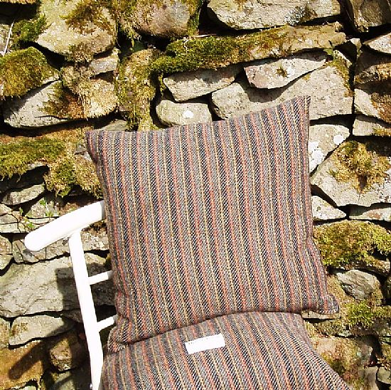 red and grey stripe harris tweed cushion by roses workshop
