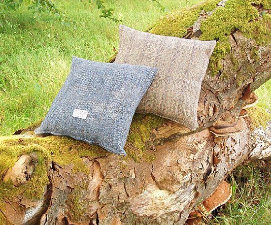 harris tweed cushions on a log by roses workshop