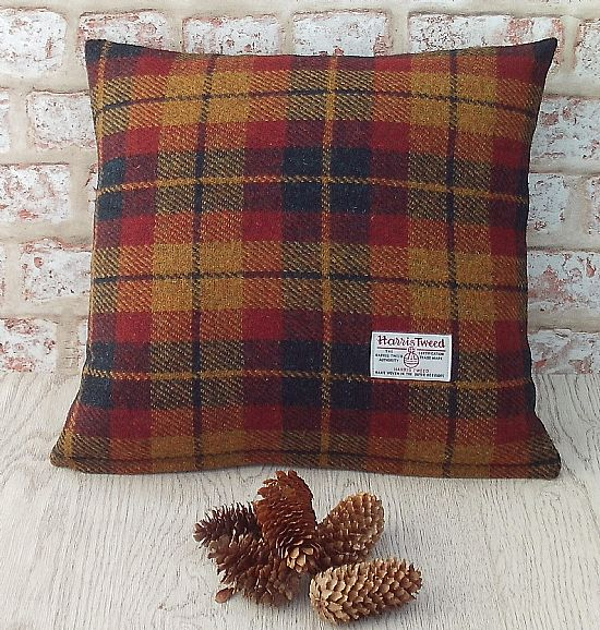 autumn check harris tweed cushion by roses workshop