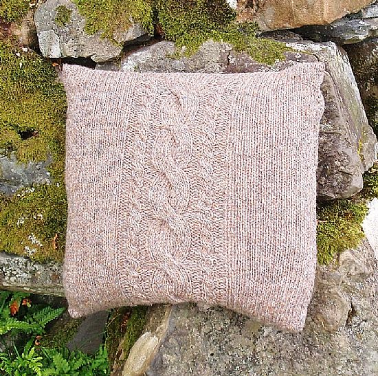 hand knitted british wool cushion by roses workshop