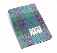 Harris tweed A5 book cover green purple