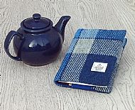 Harris tweed A6 book cover blue white check