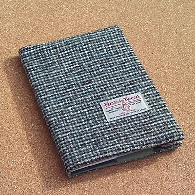 harris tweed diary notebook cover blue green by roses workshop