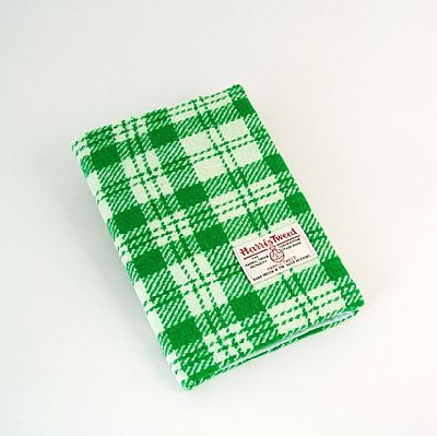 harris tweed diary green and white check
