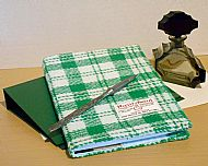 Harris tweed A5 book cover green white