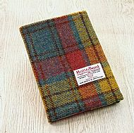 Harris tweed A5 book cover rose teal yellow