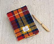 Harris tweed A6 book cover bright tartan