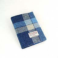 Harris tweed A5 book cover blue white