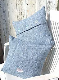 Pale blue Harris tweed cushions