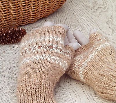 brown fairisle gloves in pure alpaca by roses workshop