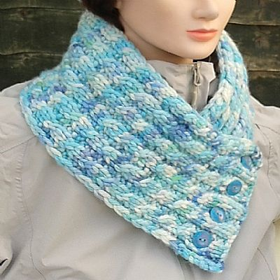 luxury scarf cowl in blues and green