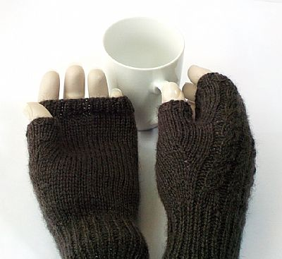 plain palm and cable back british wool gloves from roses workshop