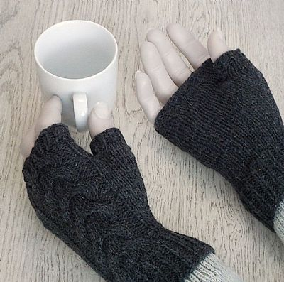 y-cable back and plain palm british wool fingerless gloves by roses workshop