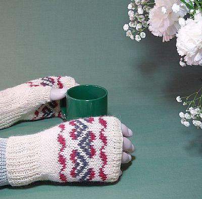 cream fairisle fingerless gloves in british wool