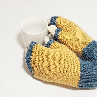 british wool blue and fawn fingerless gloves by roses workshop