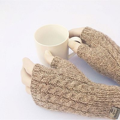 grey brown shetland fingerless gloves by roses workshop