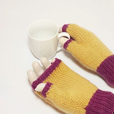 two colour fingerless gloves in british wool by roses workshop