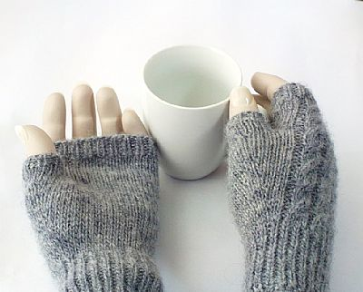 cable backs and plain palms on these fingerless gloves by roses workshop