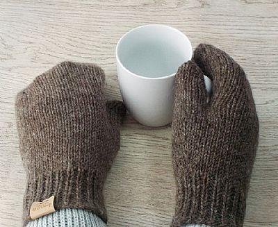 british wool dark brown mittens by roses workshop