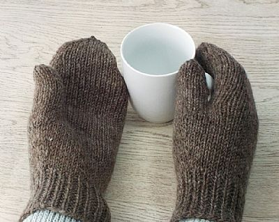 detail of palm of british wool mittens by roses workshop