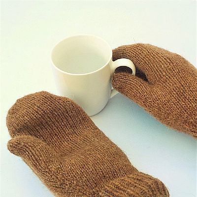 natural caramel brown wool mittens by roses workshop