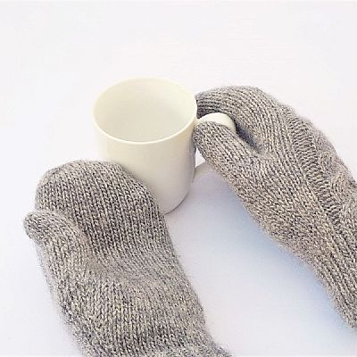 british wool mittens with cable backs and plain palms by roses workshop