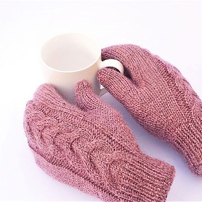 pink british wool cable mittens by roses workshop