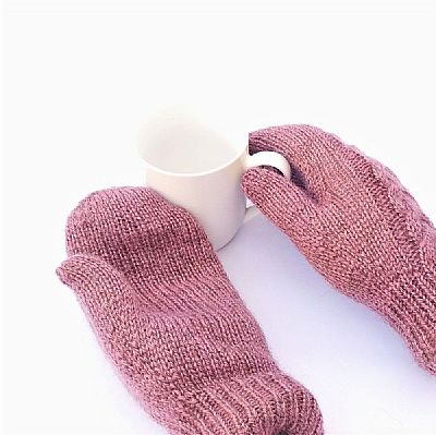plain palms of pink wool mittens by roses workshop