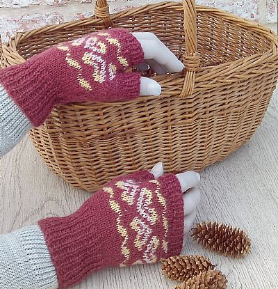british wool fairisle gloves ruby red by roses workshop