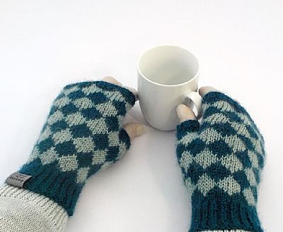 diamond pattern wensleydale wool gloves by roses workshop