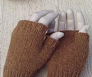 Castlemilk Moorit pure wool fingerless gloves