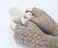 Grey brown Shetland fingerless gloves