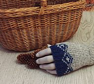 Blue and grey fairisle gloves
