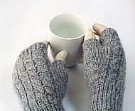Light grey Masham wool fingerless gloves