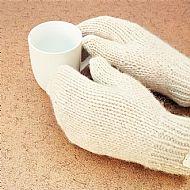 Luxury pure alpaca natural cream mittens