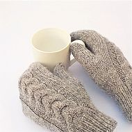 Grey Y-cable mittens
