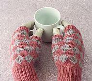 Pink diamond fingerless gloves