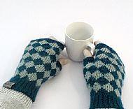 Teal aqua diamond fingerless gloves
