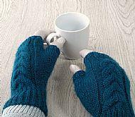 Teal Wensleydale fingerless gloves
