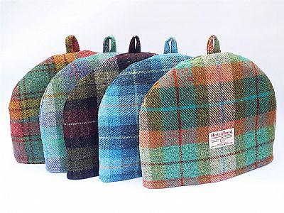 colourful range of harris tweed tea cosies by roses workshop