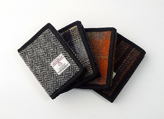collection of harris tweed wallets handmade by roses workshop