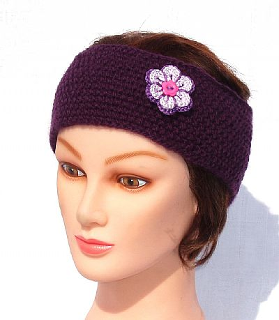 purple wool hairband with flower