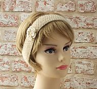 British Wensleydale wool hairband cream with flower
