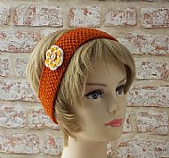 British wool hairband orange with flower