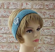 British wool hairband blue with flower