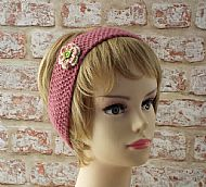 British wool hairband pink with flower
