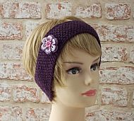 British wool hairband purple with flower