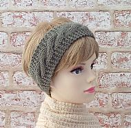 British wool hairband earwarmer sage green
