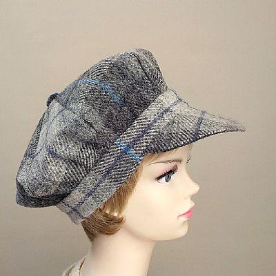 grey tartan baker boy cap handmade from harris tweed by roses workshop