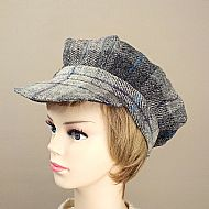 Harris tweed baker boy hat grey tartan
